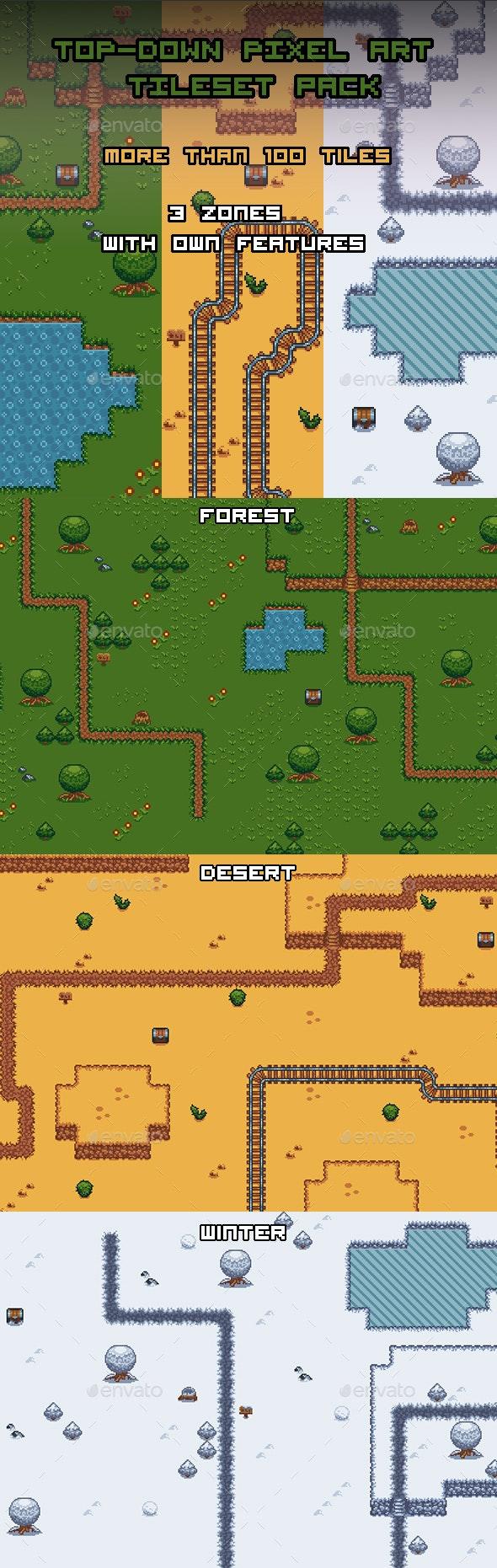 Top-Down Pixel Art Tileset pack for 2D Game - Tilesets Game Assets