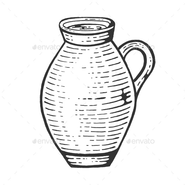 Jug with Milk Sketch Engraving Vector - Food Objects