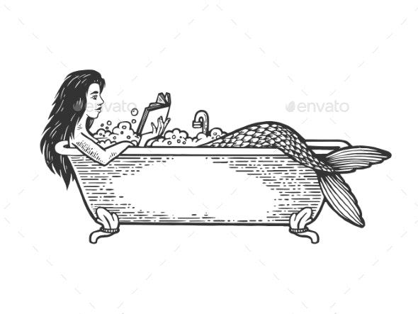 Mermaid Reading Book in Bath Sketch Engraving - Miscellaneous Vectors
