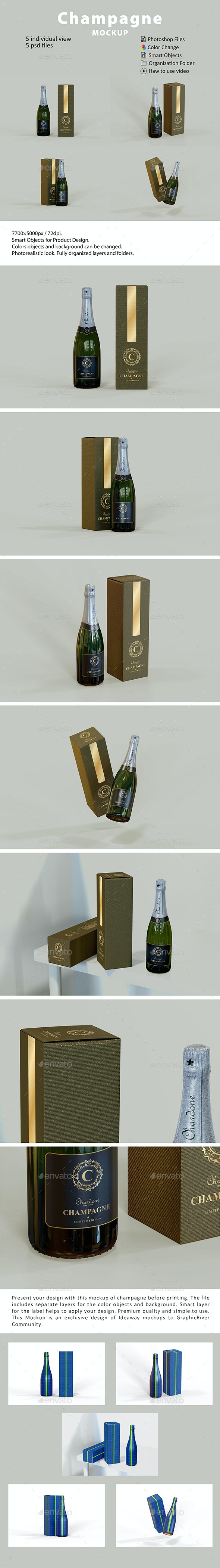 Champagne Packaging Mockup - Food and Drink Packaging
