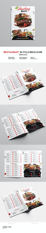 Restaurant Bi-Fold Brochure - Food Menus Print Templates