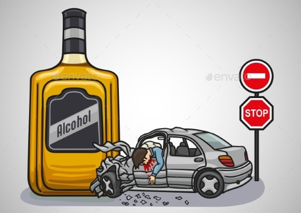 A Drunk Driver Risks To Get Into a Car Accident - Health/Medicine Conceptual