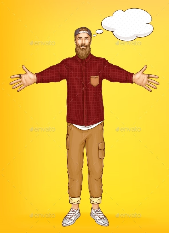 Promo Banner Template with Hipster Man Vector - People Characters