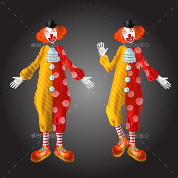 Funny Clown Character in Colorful Costume Set - Man-made Objects Objects