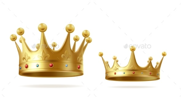 Golden Realistic King or Queen Crown Set with Gems - Miscellaneous Vectors