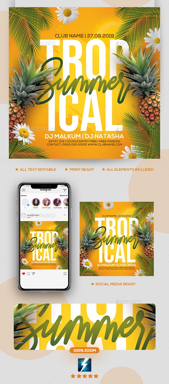 Tropical Summer Party Flyer - Clubs & Parties Events