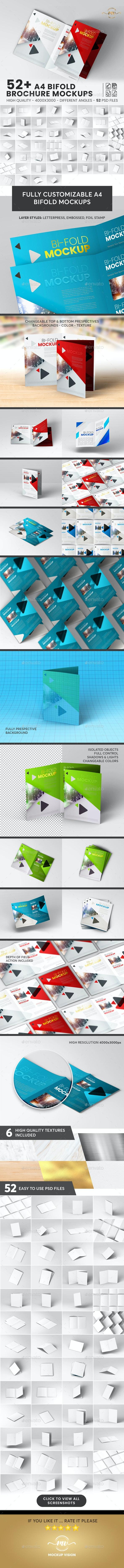 52+ A4 Bifold, Brochure Mockup Bundle - Brochures Print