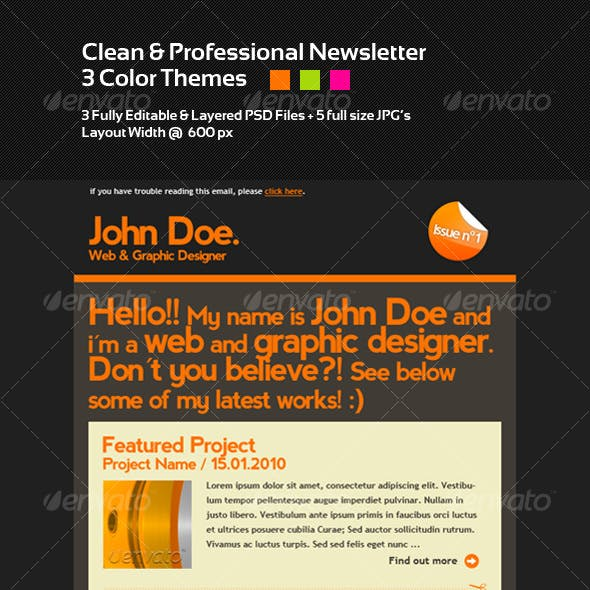 Clean & Professional Newsletter Layout - 3 Colors