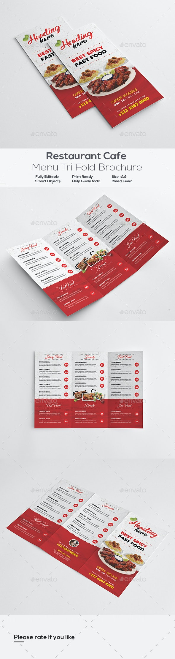 Restaurant Menu Trifold Brochure - Food Menus Print Templates