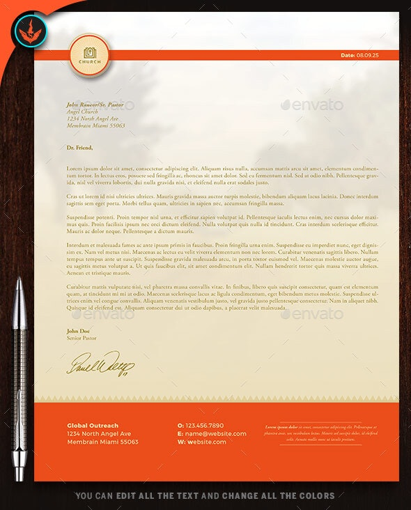 Church Letterhead Template 2 - Stationery Print Templates