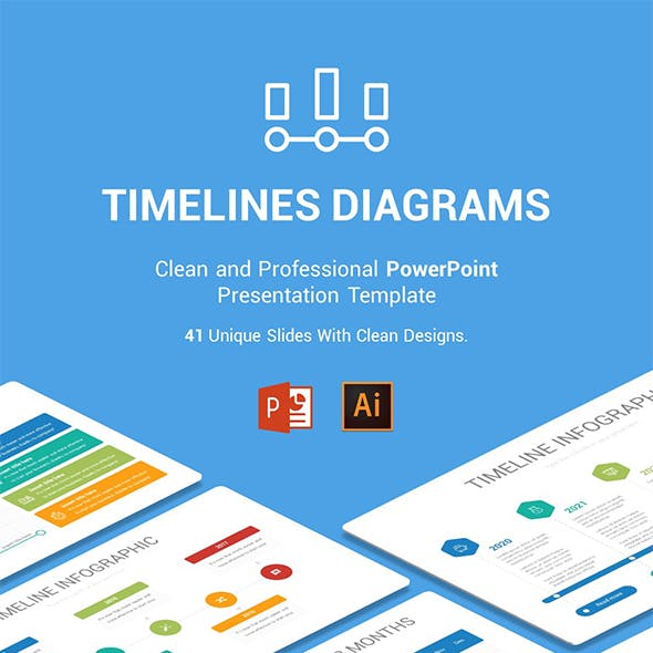 Timelines Diagrams PowerPoint, Illustrator Template