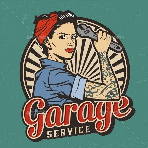 Vintage Garage Service Emblem - People Characters