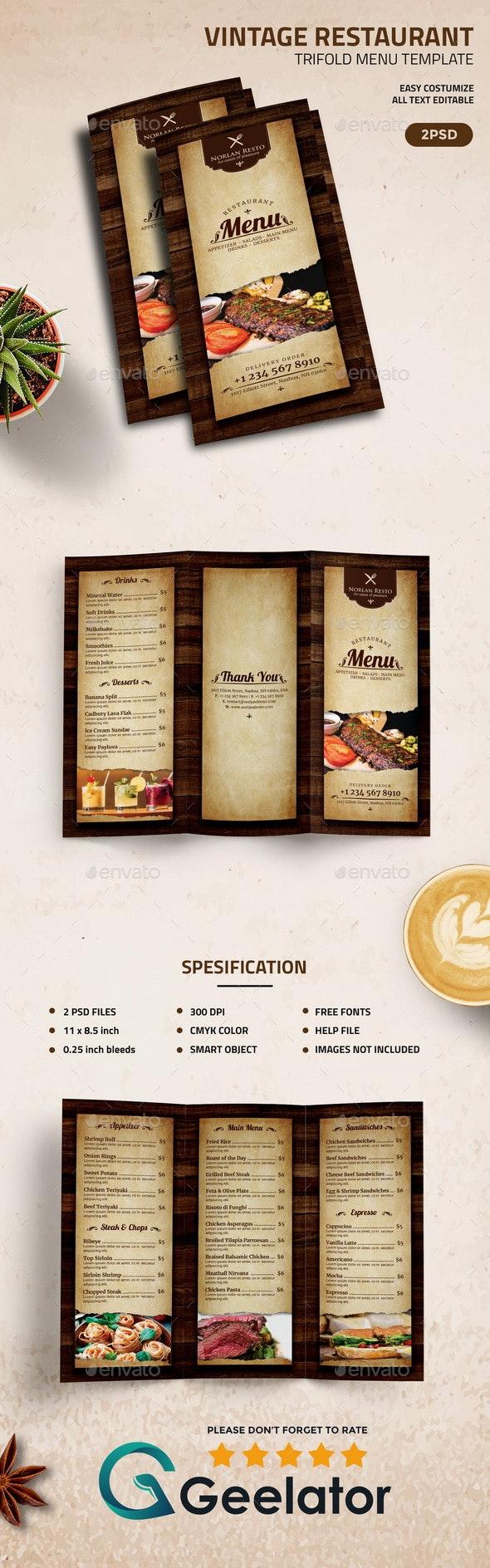Vintage Restaurant  TriFold Menu Template - Food Menus Print Templates