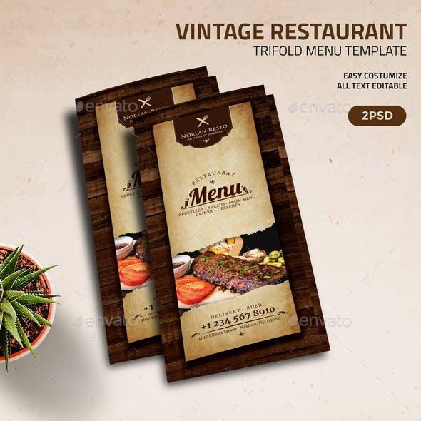 Vintage Restaurant  TriFold Menu Template