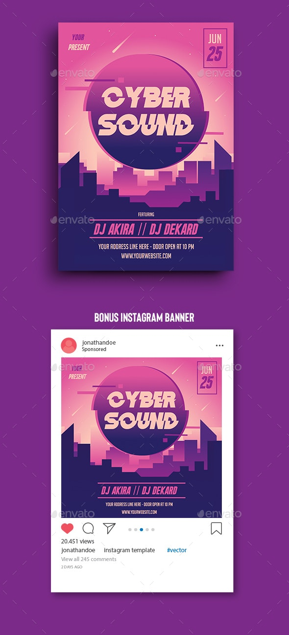 Cyber Sound Flyer Template - Clubs & Parties Events