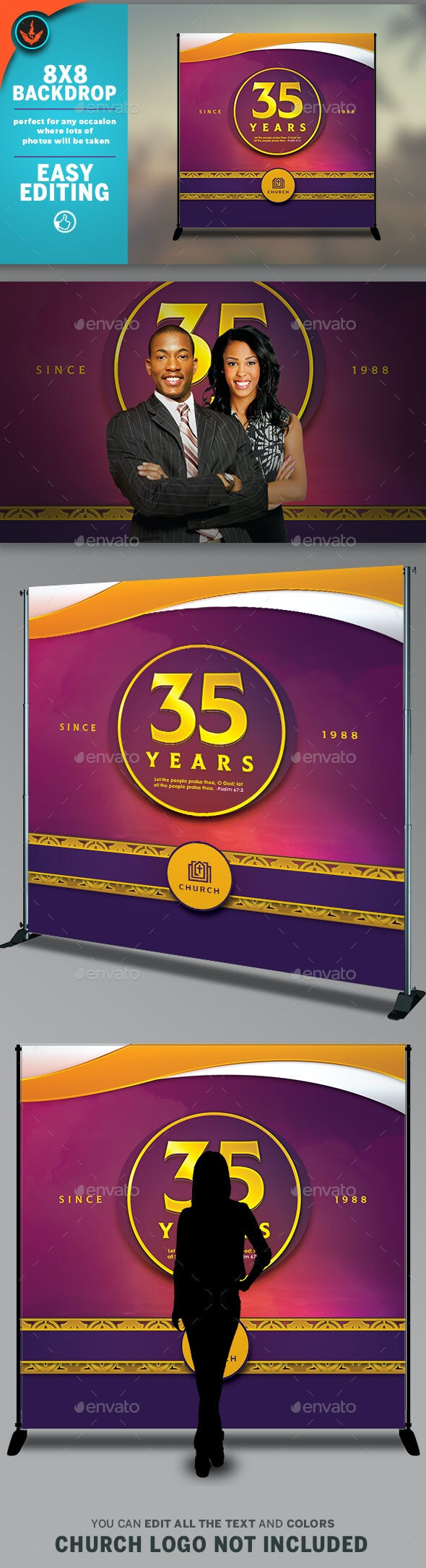 Church Anniversary Printable Backdrop Banner Template - Signage Print Templates