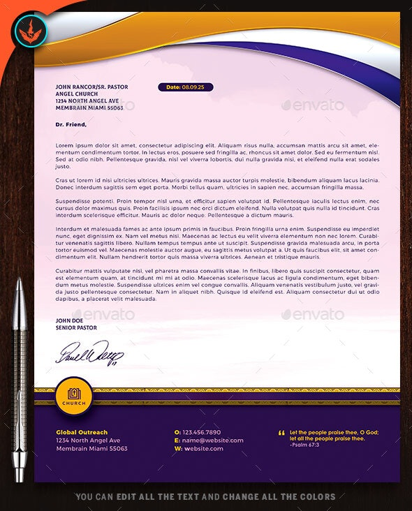 Church Royal Gold Lavender and White Letterhead Template - Stationery Print Templates