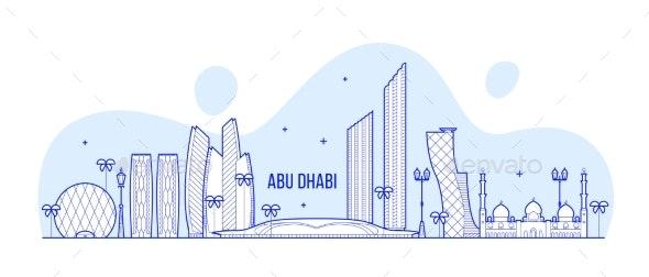 Abu Dhabi Skyline United Arab Emirates UAE Vector - Buildings Objects