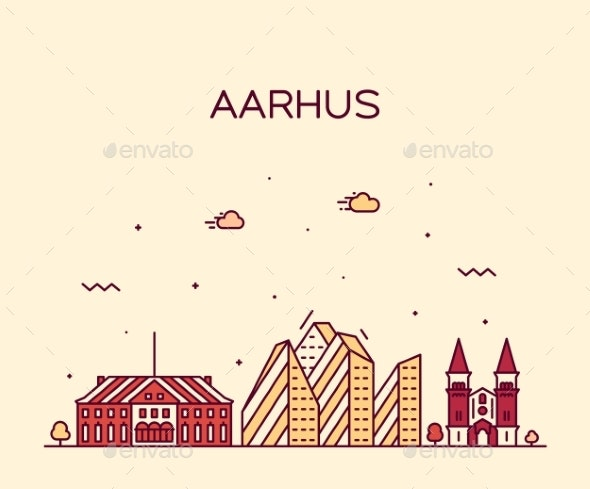 Aarhus Skyline Denmark Vector City Linear Style - Buildings Objects