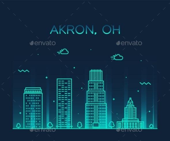 Akron Skyline Ohio USA Trendy Vector City Linear - Buildings Objects