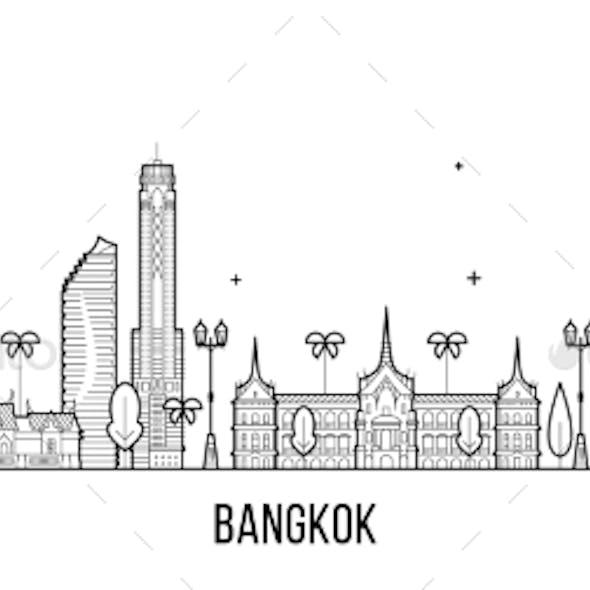 Bangkok Skyline Thailand City Vector Linear Style