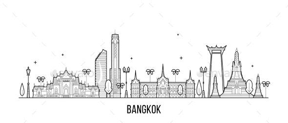 Bangkok Skyline Thailand City Vector Linear Style - Buildings Objects