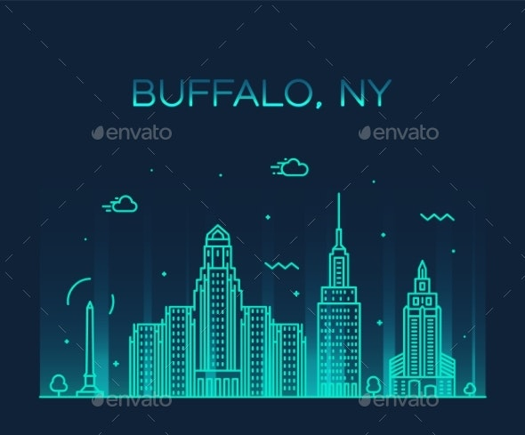Buffalo Skyline New York USA Vector Linear Style - Buildings Objects