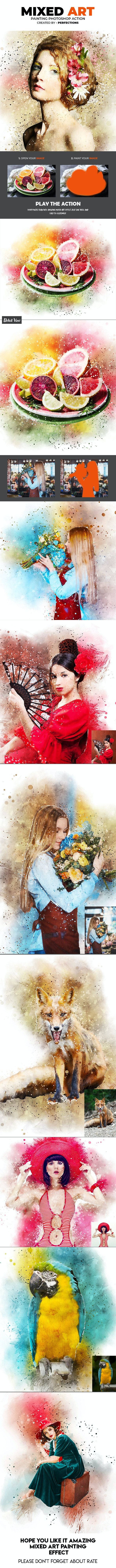 Mixed Art Painting Photoshop Action - Photo Effects Actions