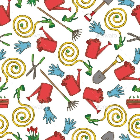 Seamless Pattern with Garden Tools - Miscellaneous Vectors