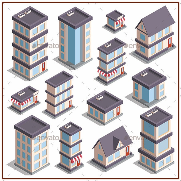 Set of Buildings - Buildings Objects