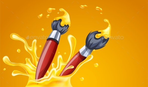 Creative Art Brushes for Drawing with Yellow Paint - Backgrounds Decorative