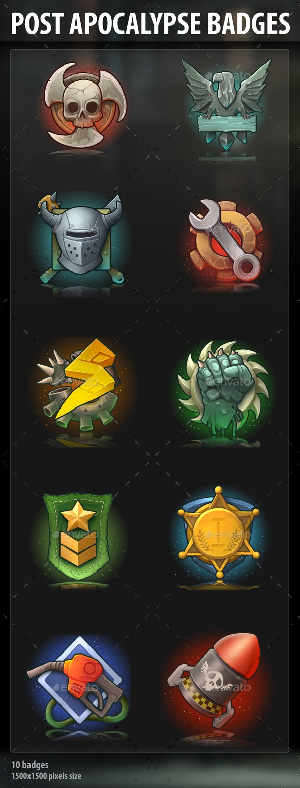 Post Apocalypse Badges - Miscellaneous Game Assets