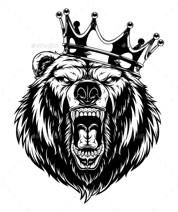 Ferocious Bear in a Crown - Animals Characters