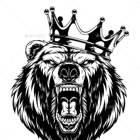 Ferocious Bear in a Crown