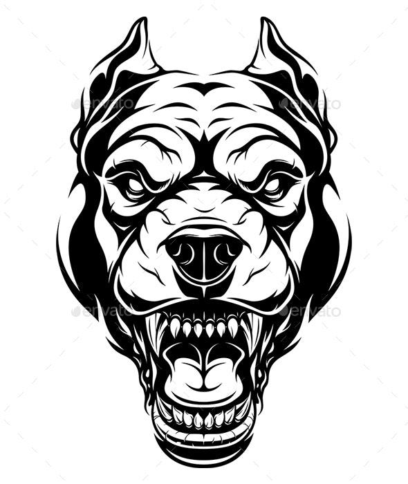 Ferocious Dog Head - Animals Characters