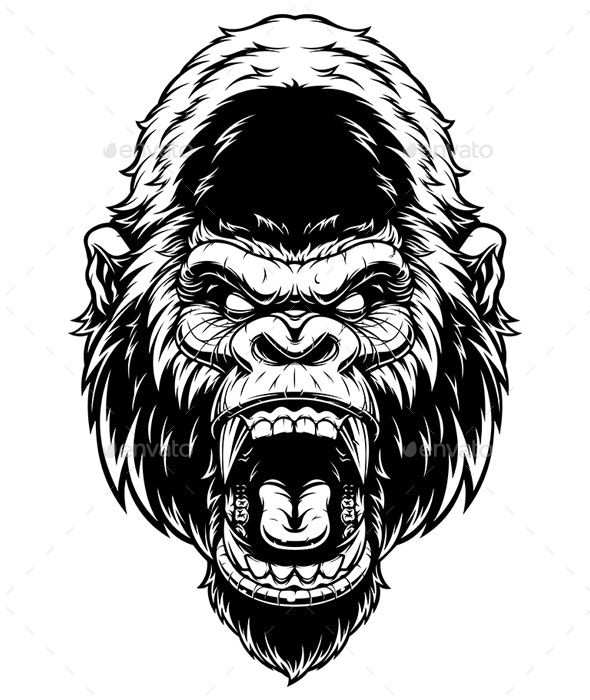 Head of Fierce Gorilla - Animals Characters