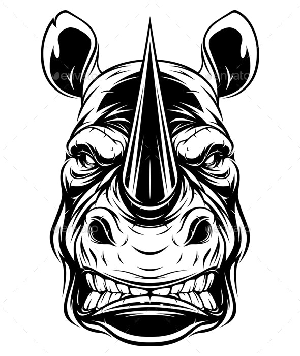Ferocious Rhino Head - Animals Characters