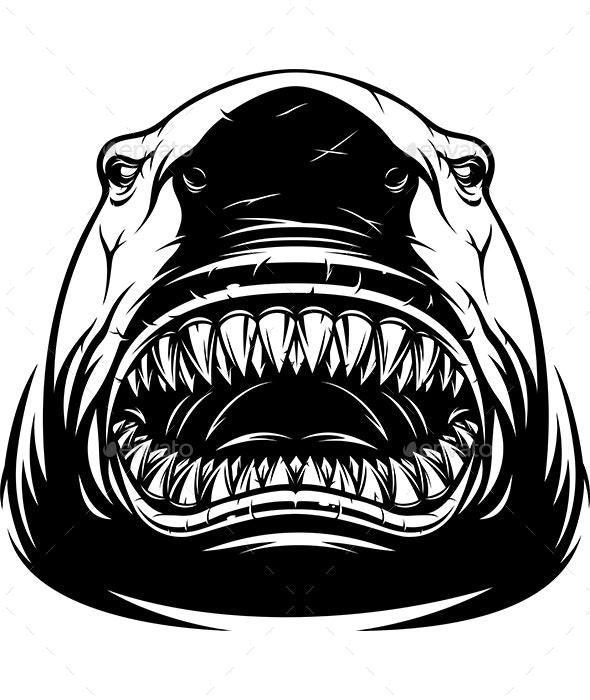 Ferocious Shark Head - Animals Characters