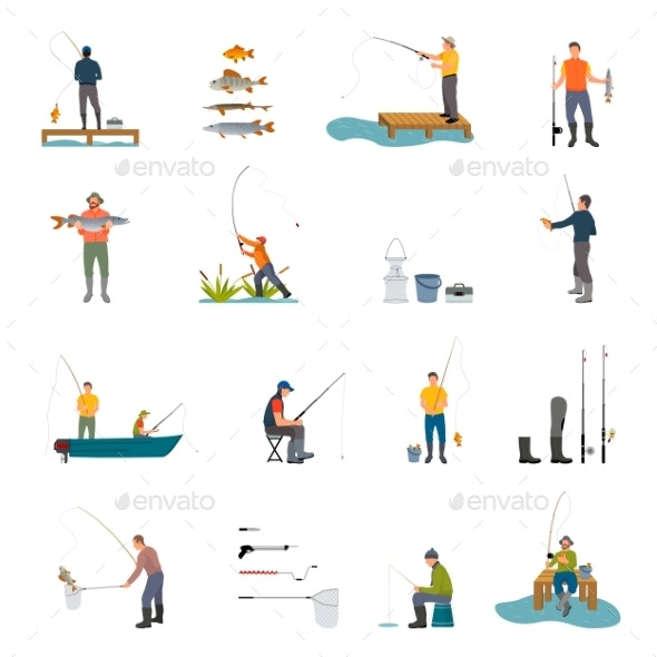 Fishing Activity Vector Illustration - Sports/Activity Conceptual