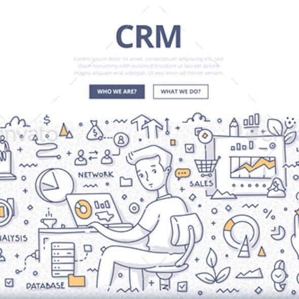 Customer Relationship Management Doodle Concept