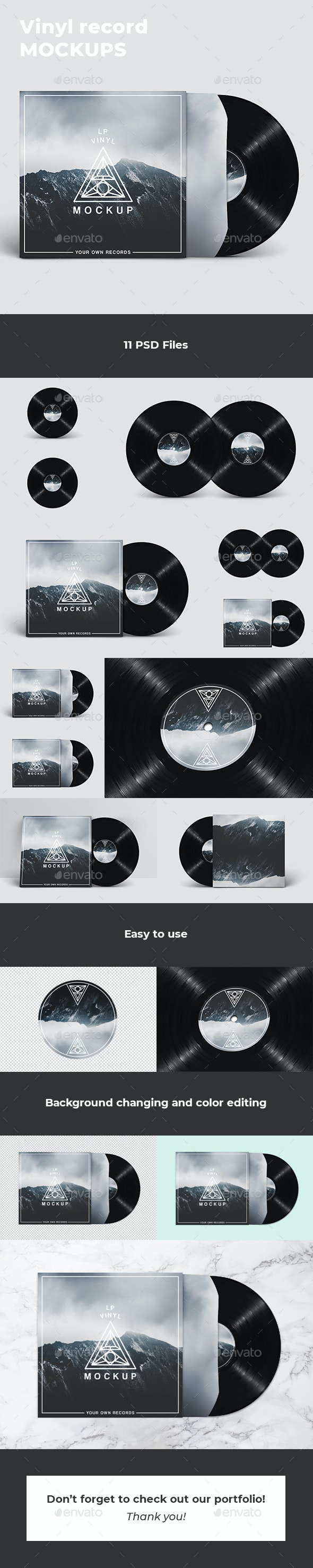 Vinyl Record Mockups - Discs Packaging