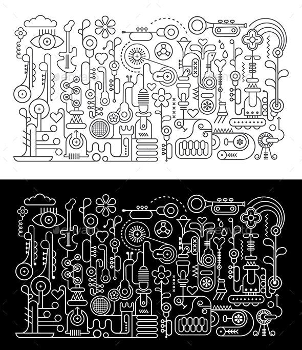 Music Workshop Line Art Vector Illustration - Miscellaneous Vectors