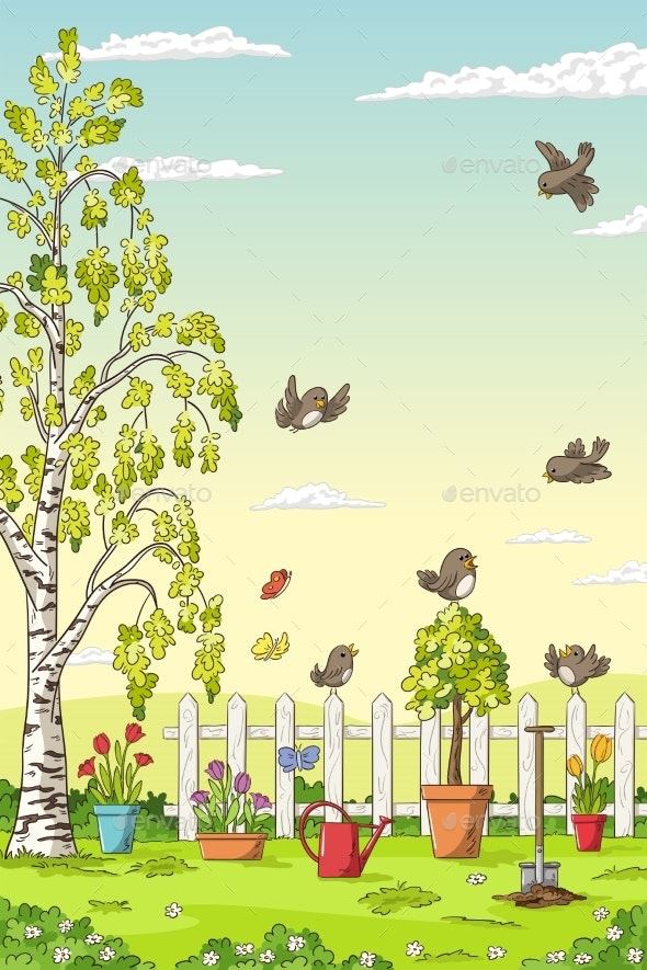 Spring Landscape With Birds - Flowers & Plants Nature