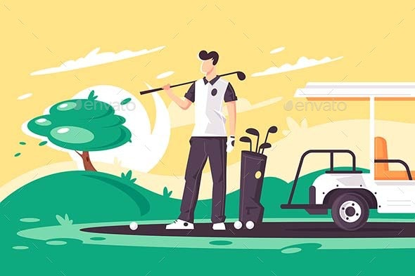 Flat Young Man with Golf Club - Sports/Activity Conceptual