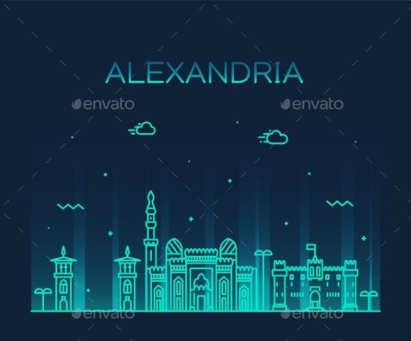 Alexandria Skyline Egypt Vector Drawn Linear Style - Buildings Objects