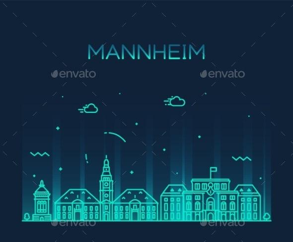 Mannheim Skyline Germany Vector City Linear Style - Buildings Objects