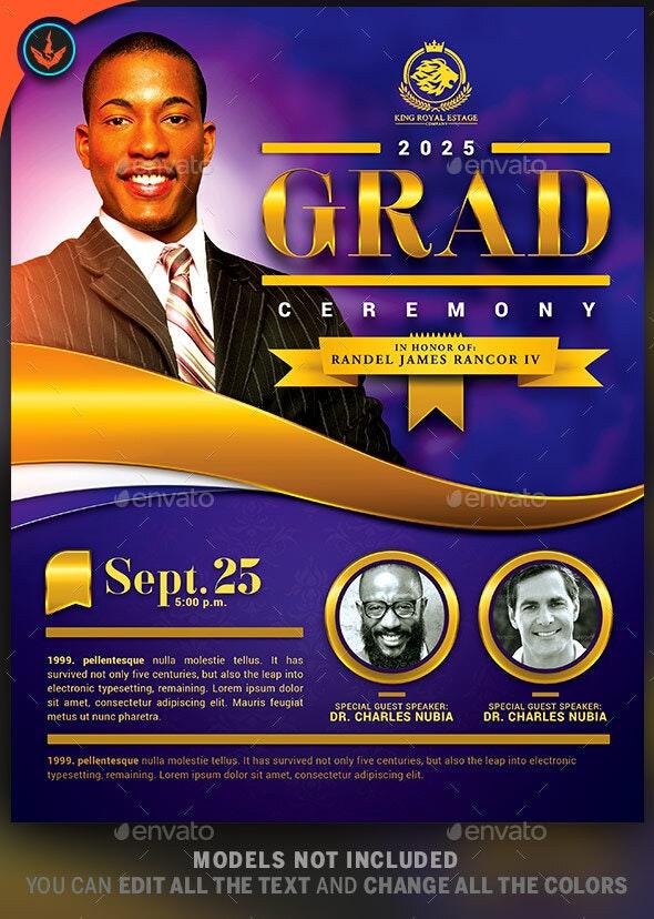 Pastor's Graduation Ceremony Flyer Template - Church Flyers