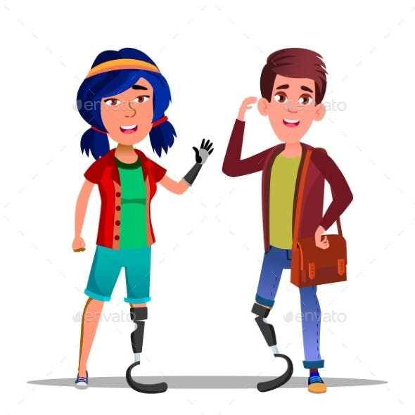 People With Bionic Legs Cartoon Vector Characters