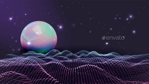Rave, Retro, Futuristic Style Waves Vector - Backgrounds Decorative