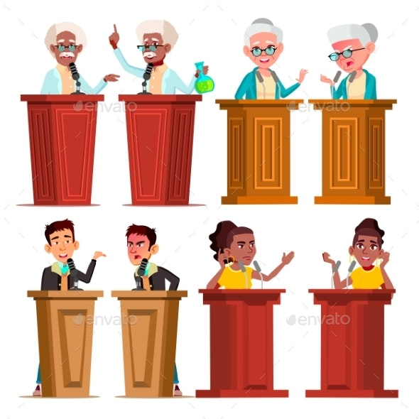 Politicians, Speakers, Tutors Cartoon Vector - Business Conceptual